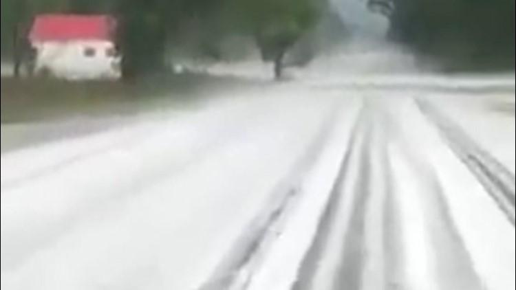 Hail buries boulevards, pelts people across North Carolina