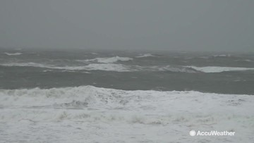 Early morning video from North Carolina as powerful coastal storm makes its way to land