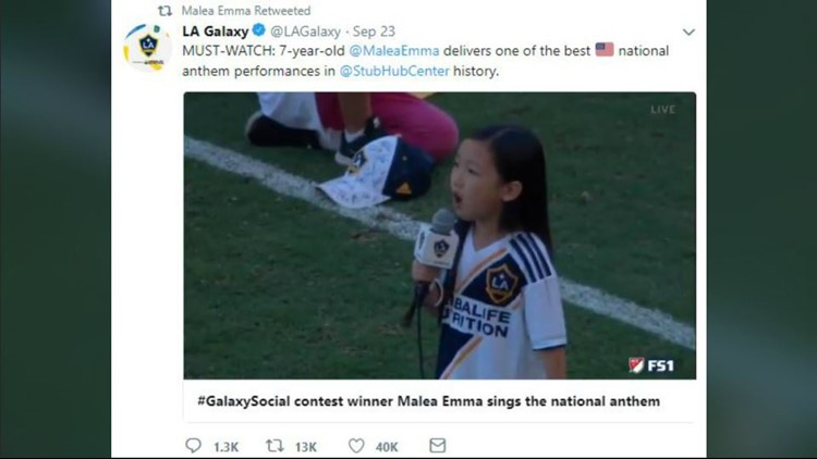 Seven-year-old's awesome national anthem at LA Galaxy