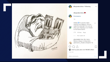 Artist honors Notre Dame Cathedral with drawing of Quasimodo