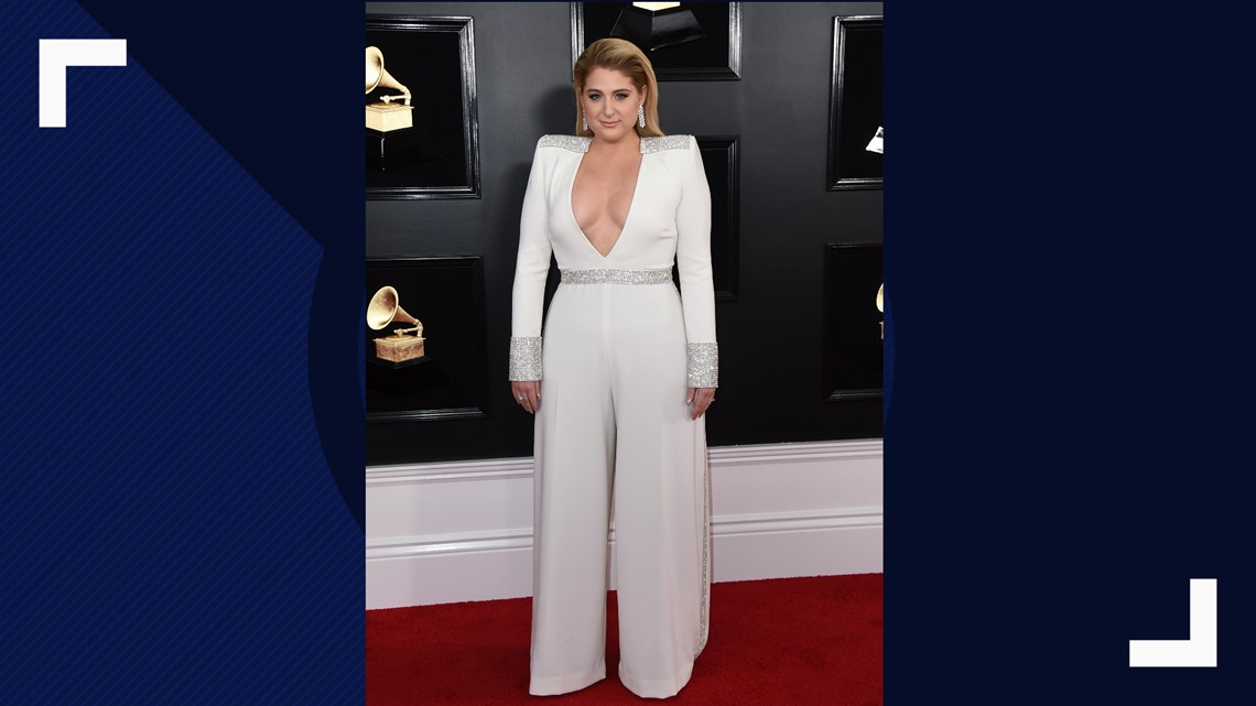 4f5babb9d1e Meghan Trainor arrives at the 61st annual Grammy Awards at the Staples  Center on Sunday