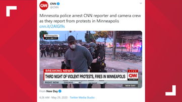 CNN news crew arrested in Minneapolis as police clash with protesters