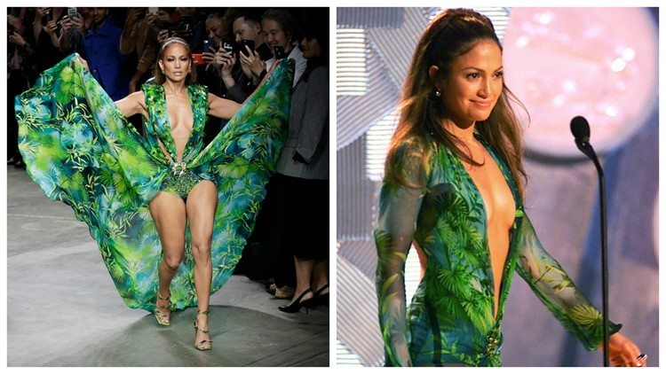 Jennifer Lopez 2000 and 2019 green dress