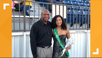 Homecoming queen finalist gets surprise by her father, who returned from deployment