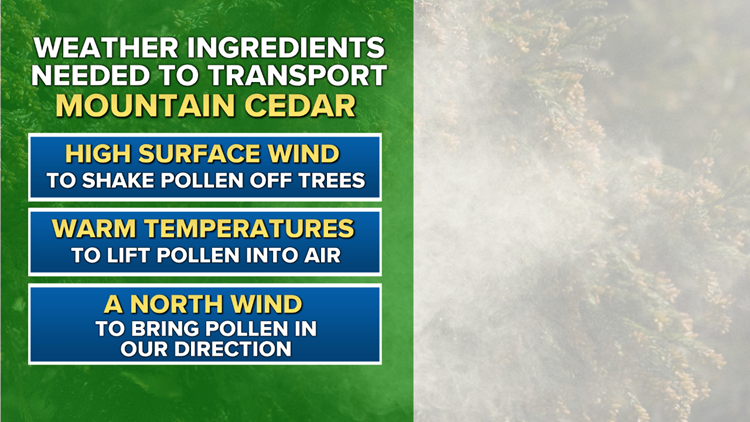 Weather ingredients needed to transport mountain cedar