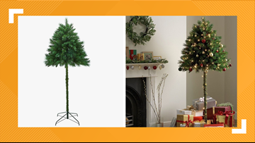 This Half Christmas Tree makes for a pet's worst nightmare; they can't reach the ornaments
