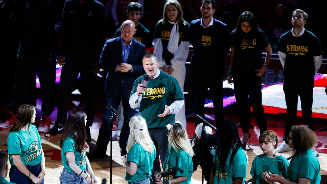 87e833f506ca Houston Rockets Owner Tilman Fertitta speaks as part of a tribute to honor  the victims of the May 18 shooting at Santa Fe High School prior to Game  Five of ...