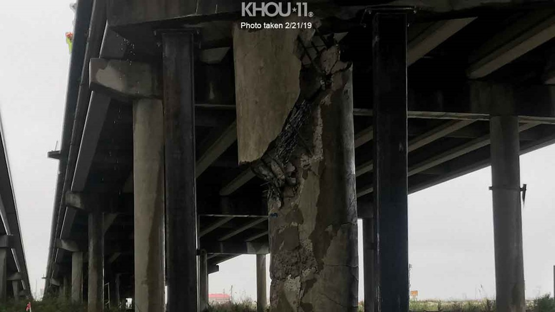 Verify: Is this photo real of damaged pillar under I-10/San Jacinto River bridge?
