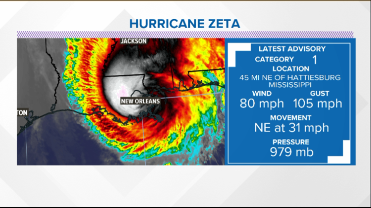 Hurricane Zeta moving quickly through SE United States