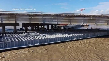 WATCH: Incredible drone video shows aftermath of barge crash into bridge
