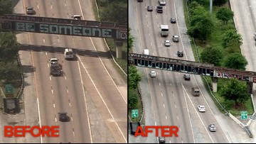 The 'Be Someone' bridge is no more after someone painted over it