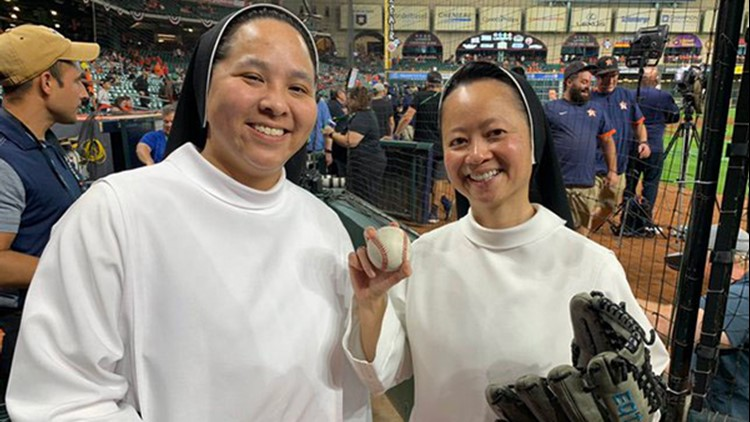 'Rally Nuns' return to cheer on the Astros, throw out first pitch at Game 6 of ALCS