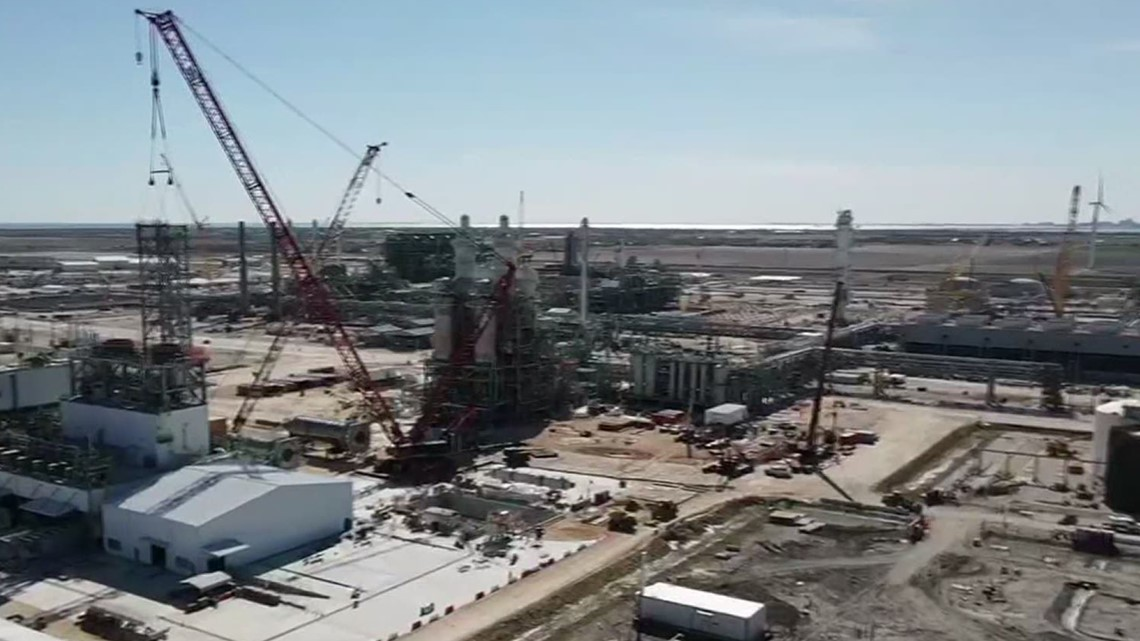 Construction of the $10 billion plastics plant in San Patricio is rapidly nearing completion
