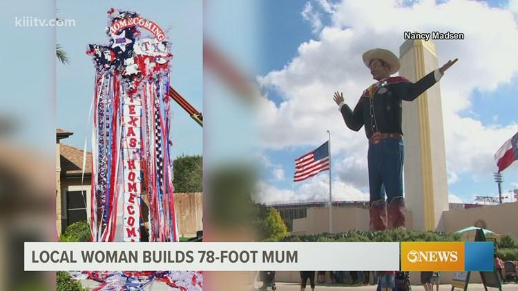 This homecoming mum is taller than Big Tex