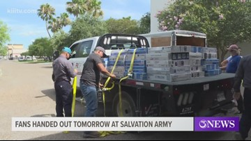Free fans will be handed out Wednesday at Salvation Army