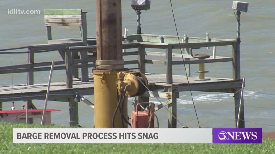 Barge, sunken tugboat removal along Ocean Drive delayed by GLO