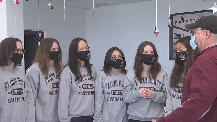 Flour Bluff girls swim team gets state sendoff