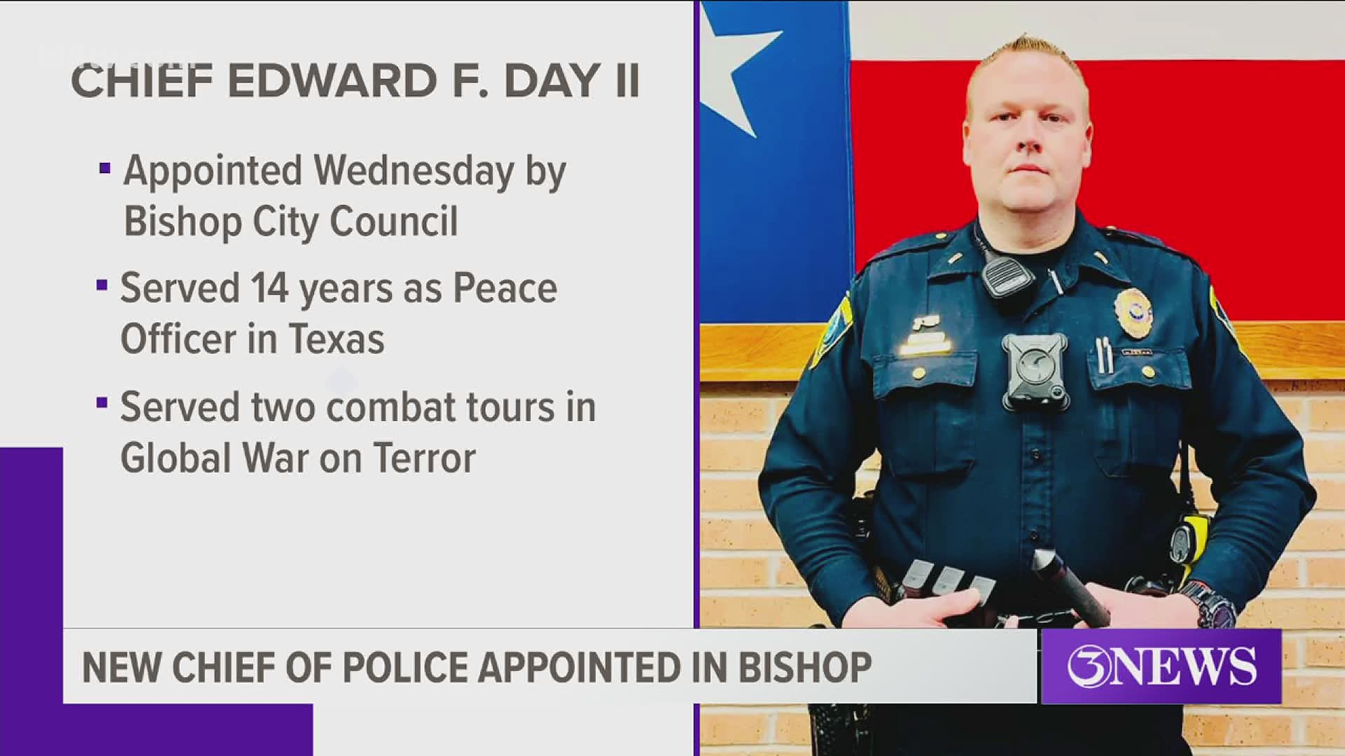 Lt. Edward F, Day II, appointed as Bishop Police Department's new Chief of  Police | kiiitv.com