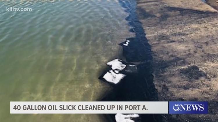 Crew work to clean 40-gallon oil slick along Port Aransas Municipal Boat Ramp