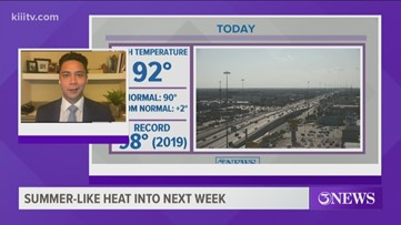 Summer-like heat continues across South Texas