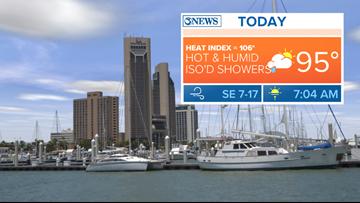 Hot and humid with isolated rain, Thursday