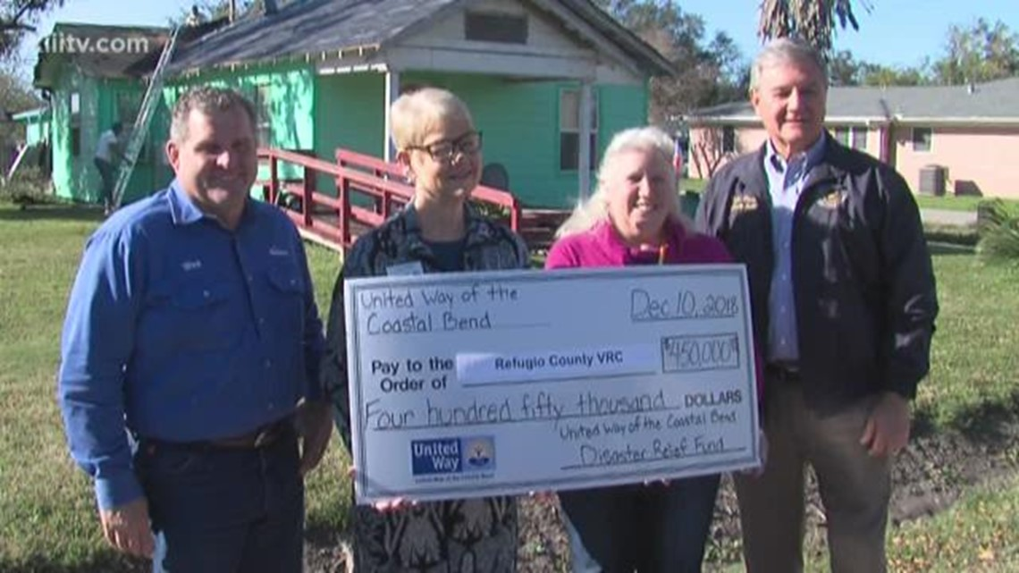 United Way of the Coastal Bend donates money to aid hurricane victims in Refugio County