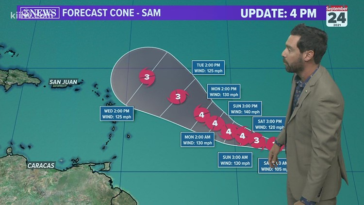 TROPICAL UPDATE: Sam continues to strengthen