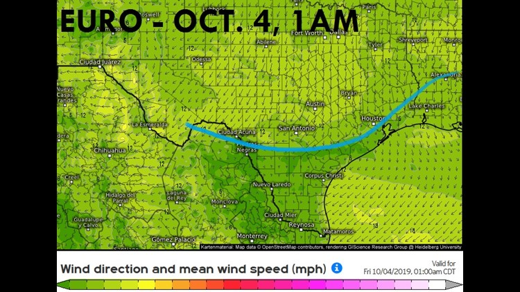 European Model Wind Speed and Direction
