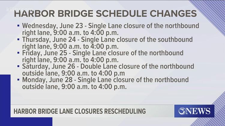 Harbor Bridge lane closures through July 6