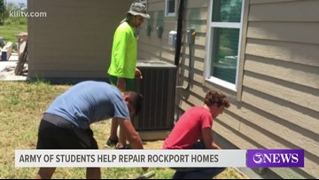 Students with United Methodist Army helping rebuild home in Rockport, Texas