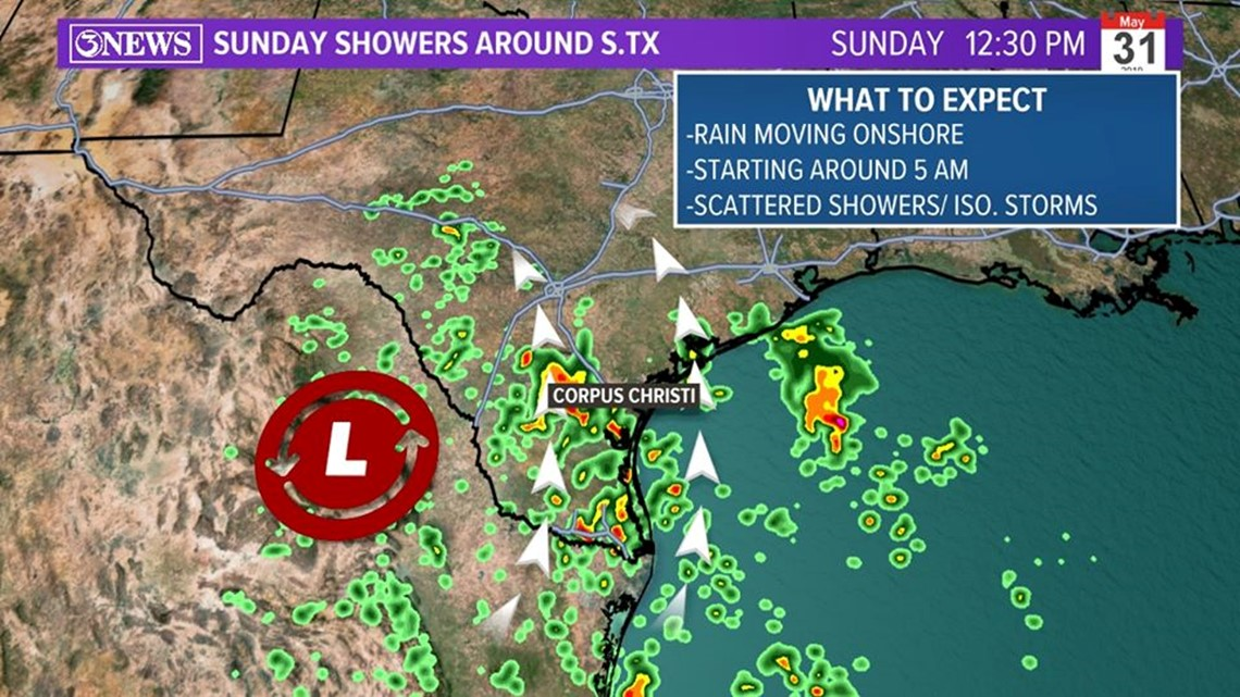 Scattered rain and isolated storms moving onshore Sunday morning