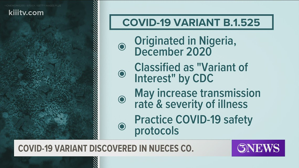 Nueces County resident tests positive for COVID-19 variant B.1.525