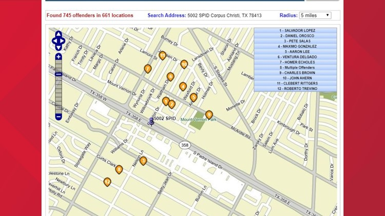 Sex offender map from KIII studios