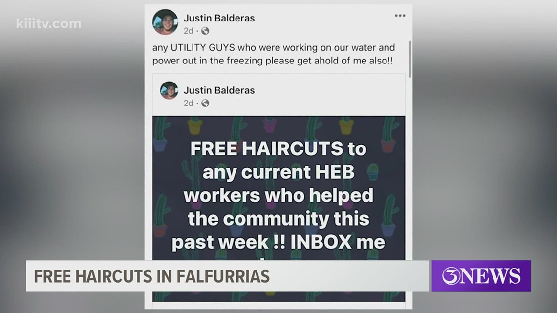 Falfurrias student barber offers free haircuts to utility, grocery store workers
