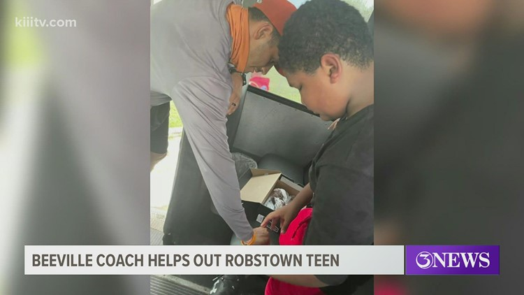 A Robstown football player tore his shoes during warm-ups. A Beeville coach gave him new ones.