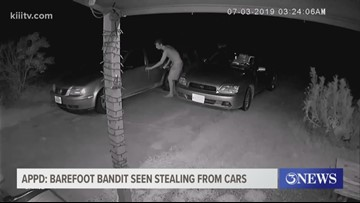 Aransas Pass Police Department looking for barefoot bandit seen stealing from cars