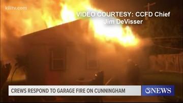 Fire crews respond to garage fire on Cunningham