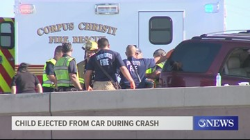 7-year-old girl ejected from car during crash