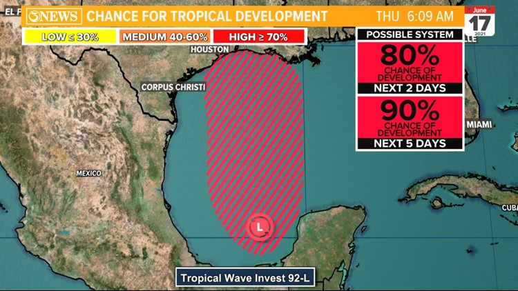 South Texas Tropical Update: Invest 92L almost certain to develop into tropical system