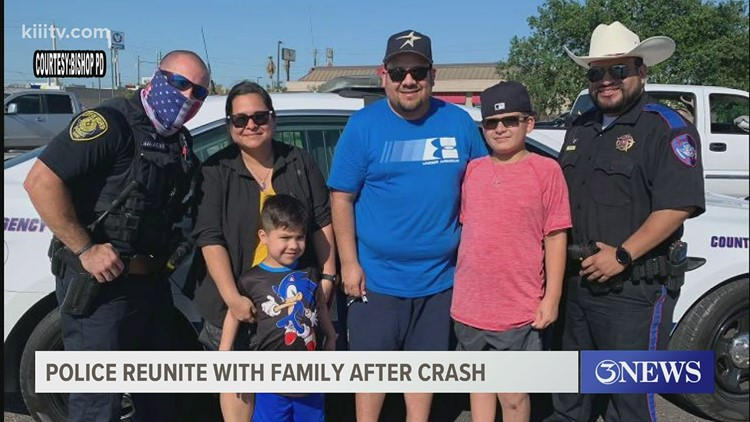 Bishop Police reunite with family after car accident ejects two children from a vehicle