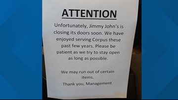 Jimmy John's has closed all of their Corpus Christi locations