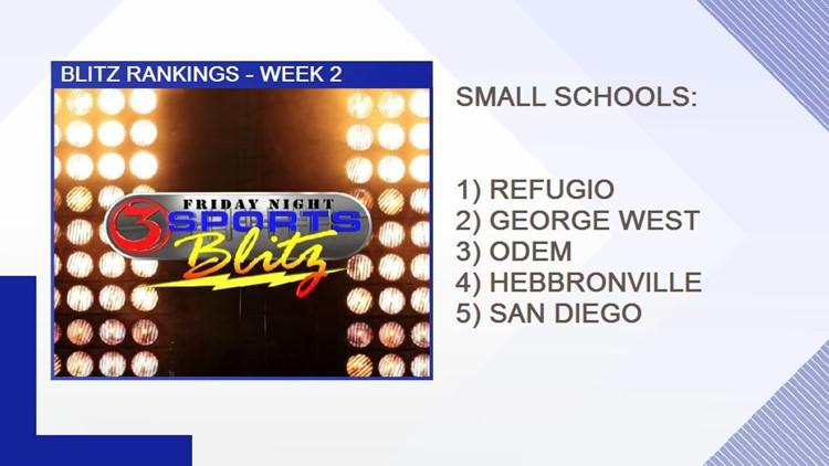 Week 2 Blitz rankings - SMALL SCHOOL