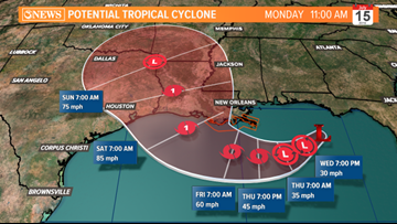 First forecast cone on Invest 92L includes parts of Texas Gulf Coast