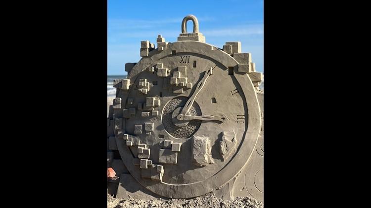 Final sculptures from 2021 Sandfest