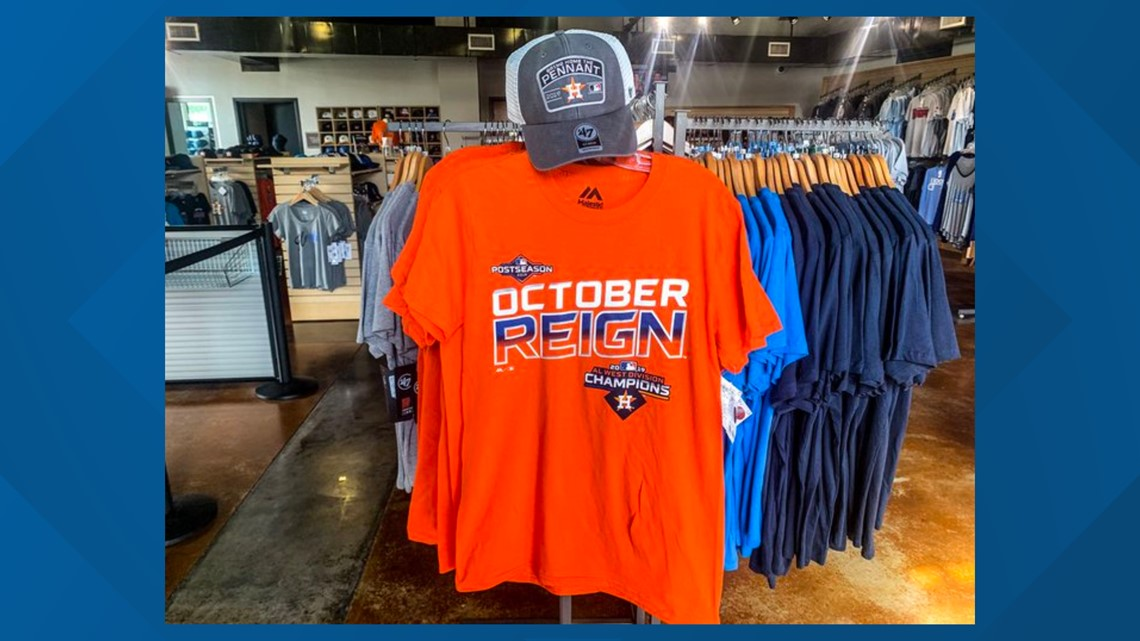 2019 Astros AL West Division Champions merchandise available at Hook, Line & Sinker store