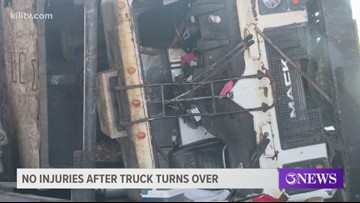 No one injured after dump truck tips over