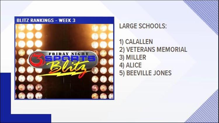 Large School rankings - Week 3 2019