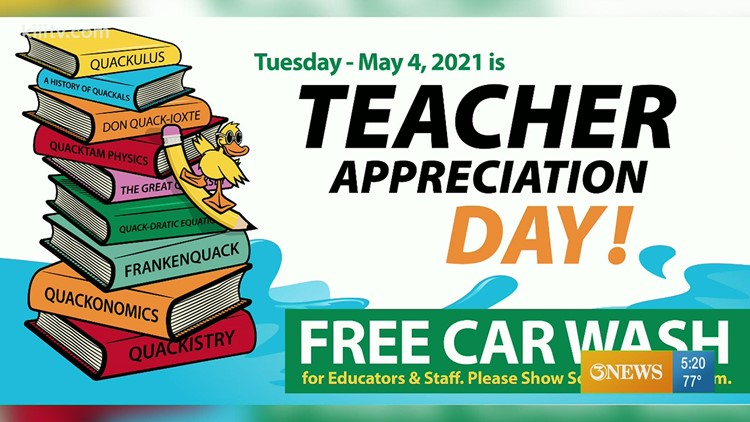 Teacher Appreciation Day: Free car wash for educators and school staff at Quick Quack Car Wash