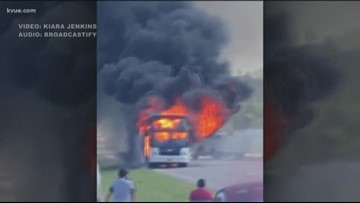 Charter bus carrying kids from summer camp catches fire in Blanco County; 6 taken to hospital