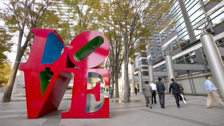His original 'LOVE' sculpture is on display at the Indianapolis Museum of Art.